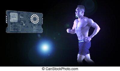 Hologram man runs on black background using slides computer...