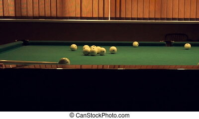 people are playing Russian Billiards in slow motion