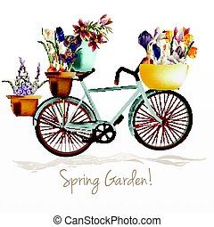 Illustration with blue bicycle and potters ful of crocus...