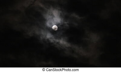 Full moon at night with cloud, timelapse - Full moon at...