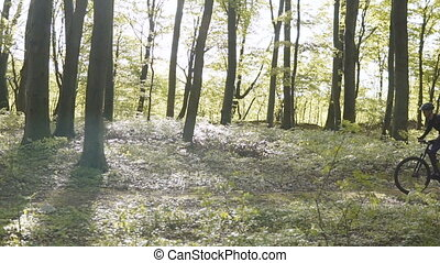 Backpacked Man Rides Bicycle in the Forest - Young...