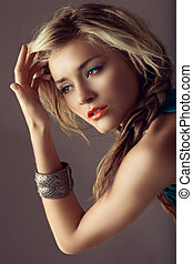 beautiful woman with coral lips - beautiful blond woman with...