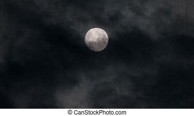 Full moon at night with cloud real no CG
