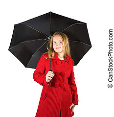 girl in cloak with umbrella - Pretty girl in cloak with...