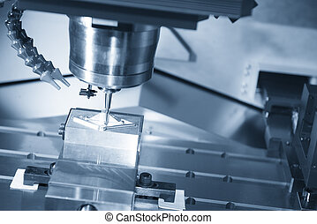 The CNC machine cutting work piece and the measurement probe...