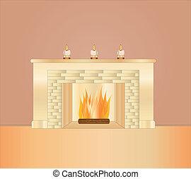 romantic fire place