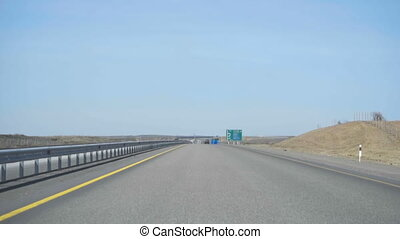 New highway in Kazakhstan - Highway Astana-Karaganda, in the...