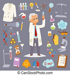 Science man character professor lab icons vector...