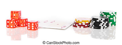 Panorama with dice, poker chips and playing cards, concept...
