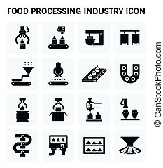 Food processing icon - Food processing industry and...