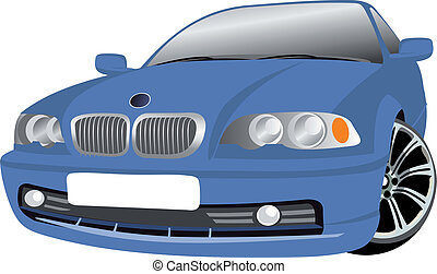 Car vector - Illustration of a blue car isolated on white...