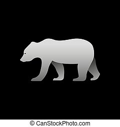 Silhouette of a gray bear standing.