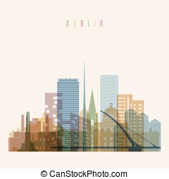 Dublin skyline detailed silhouette.