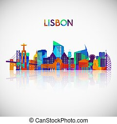 Lisbon skyline silhouette in colorful geometric style....