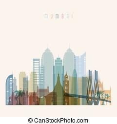 Mumbai skyline detailed silhouette. - Transparent style....