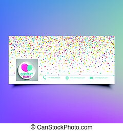 Social media timeline cover design with colourful confetti...