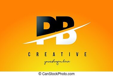 PB P B Letter Modern Logo Design with Yellow Background and...