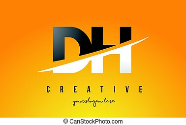 DH D H Letter Modern Logo Design with Yellow Background and...