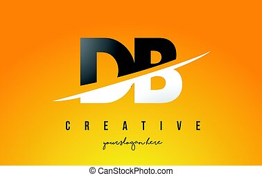 DB D B Letter Modern Logo Design with Yellow Background and...