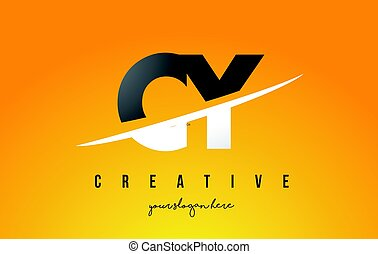 CY C Y Letter Modern Logo Design with Yellow Background and...