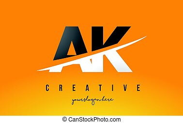 AK A K Letter Modern Logo Design with Yellow Background and...