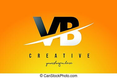 VB V B Letter Modern Logo Design with Yellow Background and...