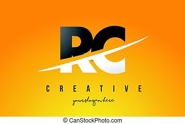 RC R C Letter Modern Logo Design with Yellow Background and...