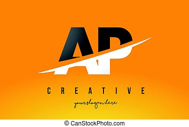 AP A P Letter Modern Logo Design with Yellow Background and...