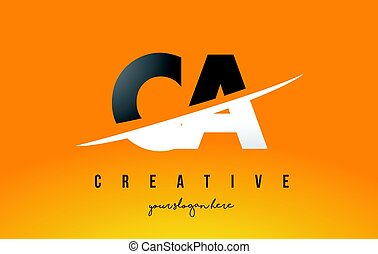 CA C A Letter Modern Logo Design with Yellow Background and...