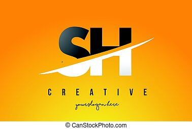 SH S H Letter Modern Logo Design with Yellow Background and...