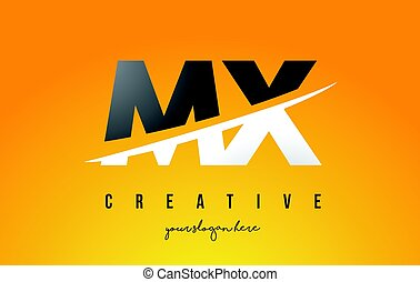 MX M X Letter Modern Logo Design with Yellow Background and...