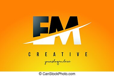 EM E M Letter Modern Logo Design with Yellow Background and...