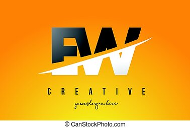 EW E W Letter Modern Logo Design with Yellow Background and...