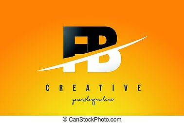 FB F B Letter Modern Logo Design with Yellow Background and...