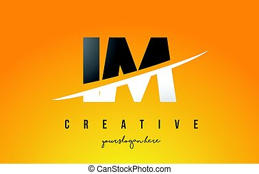 IM I M Letter Modern Logo Design with Yellow Background and...