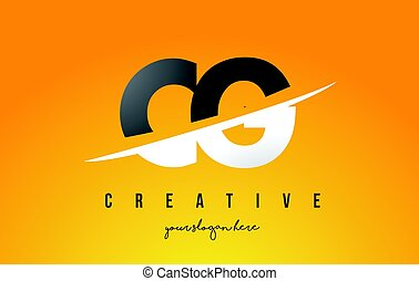 CG C G Letter Modern Logo Design with Yellow Background and...
