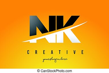 NK N K Letter Modern Logo Design with Yellow Background and...