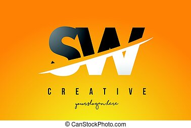 SW S W Letter Modern Logo Design with Yellow Background and...