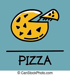 pizza hand-drawn style,Vector illustration.