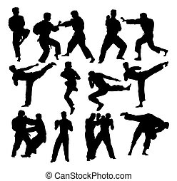 Martial Art Sport Silhouettes