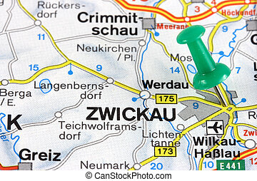 Map - Krakow, Poland, Europe. Push pin on an old map showing...
