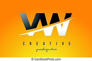 VW V W Letter Modern Logo Design with Yellow Background and...