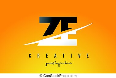 ZE Z E Letter Modern Logo Design with Yellow Background and...