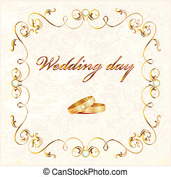 wedding card - vintage wedding card with rings