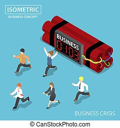 Isometric businessman run away from business timer bomb -...
