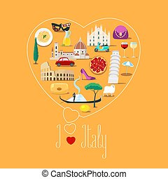 Heart shape illustration with I love Italy quote