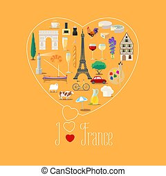 Heart shape illustration with I love France text