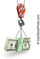 Crane hook holding stack of money isolated on a white. 3d...