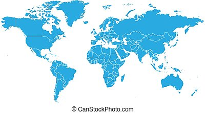 World map in blue color on white background. High detail...