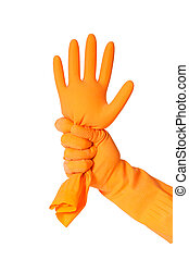 rubber glove isolated on a white background